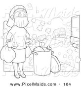 Clipart of a Coloring Page of a Woman Wearing a Mask over Her Face While Taking the Trash out in a Polluted Environment by YUHAIZAN YUNUS
