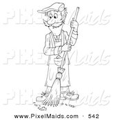 Clipart of a Coloring Page Outline of a Janitor Man Sweeping a Floor by Alex Bannykh