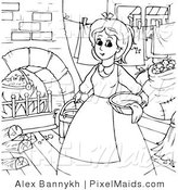Clipart of a Coloring Page Outline of Cinderella Doing Chores Around the House by Alex Bannykh