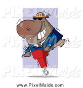 Clipart of a Construction Worker Hippo Operating a Jack Hammer by Hit Toon