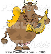 Clipart of a Cupid Angel Cow Playing a Small Harp for the Viewer by Djart