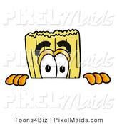 Clipart of a Curious Broom Mascot Cartoon Character Peeking over a Surface by Toons4Biz