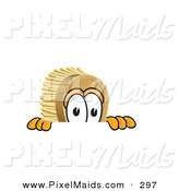 Clipart of a Curious Scrub Brush Mascot Cartoon Character Peeking over a Surface by Toons4Biz
