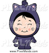 Clipart of a Cute Asian Girl in a Black Cat Costume by Cory Thoman