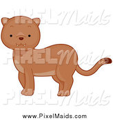 Clipart of a Cute Baby Puma by BNP Design Studio