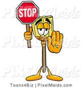 Clipart of a Cute Broom Mascot Cartoon Character Holding a Stop Sign by Toons4Biz