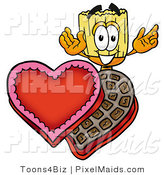 Clipart of a Cute Broom Mascot Cartoon Character with an Open Box of Valentines Day Chocolate Candies by Toons4Biz