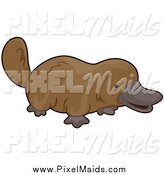 Clipart of a Cute Brown Platypus by BNP Design Studio