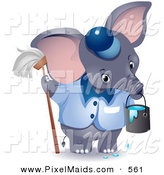 Clipart of a Cute Gray Janitor Elephant with a Mop and Bucket by BNP Design Studio