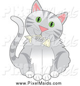 Clipart of a Cute Gray Tabby Cat with Green Eyes, and a Fishbone in Its Mouth by Maria Bell