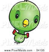 Clipart of a Cute Green Baby Parrot Flying by Cory Thoman