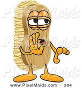 Clipart of a Cute Scrub Brush Mascot Cartoon Character Whispering by Toons4Biz