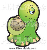 Clipart of a Cute Shy Tortoise by Lal Perera