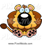 Clipart of a Cute Sitting Male Lion by Cory Thoman