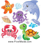 Clipart of a Cute Starfish Dolphin Octopus Crab Sea Turtle and Sea Shells by Visekart