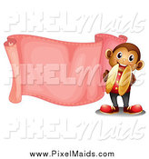 February 24th, 2015: Clipart of a Cymbal Monkey with a Blank Pink Banner by Graphics RF