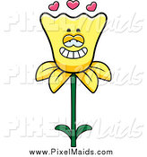 Clipart of a Daffodil Flower in Love by Cory Thoman