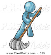 Clipart of a Denim Blue Businessman Wearing a Tie, Mopping a Hard Floor to Clean up a Mess or Spill by Leo Blanchette
