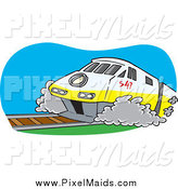 Clipart of a Diesel Tram by Toonaday