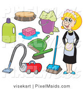 Clipart of a Digital Collage of a Maid and Cleaning Items on White by Visekart