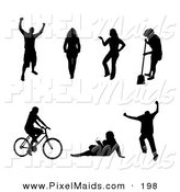 Clipart of a Digital Set of Black Victorious, Walking, Posing, Sweeping, Cycling, Reading and Jumping People Silhouettes by Arena Creative