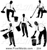 Clipart of a Digital Set of Businessman Silhouettes by Dero
