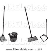 Clipart of a Digital Set of Cleaning Tools by Frisko