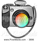 Clipart of a Digital SLR Camera with Flash on White by Djart