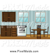 Clipart of a Dining Room Table and Kitchen by Graphics RF