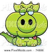 Clipart of a Drunk Green Baby Triceratops Dinosaur by Cory Thoman