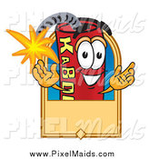 Clipart of a Dynamite Mascot Welcoming with a Tan Label by Toons4Biz