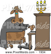 Clipart of a Elegant Cow Pianist Playing a Piano by Djart
