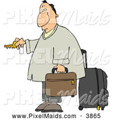 Clipart of a Exhausted Weary Traveler Businessman Checking into a Hotel by Djart