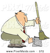 Clipart of a Fat and Balding Businessman in a Tan Suit, Crouching and Using a Broom to Sweep up Dirt in a Dustpan by Djart