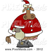 Clipart of a Fat Santa Cow by Djart