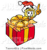 Clipart of a Festive Broom Mascot Cartoon Character Standing by a Christmas Present by Toons4Biz
