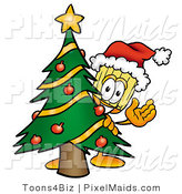 Clipart of a Festive Broom Mascot Cartoon Character Waving and Standing by a Decorated Christmas Tree by Toons4Biz