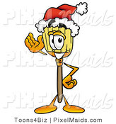 Clipart of a Festive Broom Mascot Cartoon Character Wearing a Santa Hat and Waving by Toons4Biz
