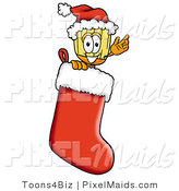 Clipart of a Festive Broom Mascot Cartoon Character Wearing a Santa Hat Inside a Red Christmas Stocking by Toons4Biz