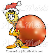 Clipart of a Festive Broom Mascot Cartoon Character Wearing a Santa Hat, Standing with a Christmas Bauble by Toons4Biz