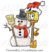 Clipart of a Festive Broom Mascot Cartoon Character with a Snowman on Christmas by Toons4Biz