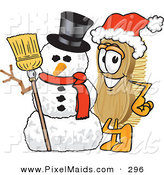 Clipart of a Festive Scrub Brush Mascot Cartoon Character Wearing a Santa Hat and Standing with a Snowman by Toons4Biz