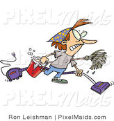 Clipart of a Frantic Woman Doing Spring Cleaning by Toonaday