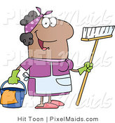 Clipart of a Friendly Black Female Housekeeper by Hit Toon