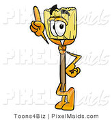 Clipart of a Friendly Broom Mascot Cartoon Character Pointing Upwards by Toons4Biz