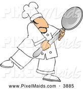 Clipart of a Friendly Caucasian Male Chef Carrying a Big Spoon by Djart