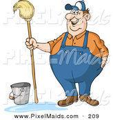 Clipart of a Friendly Chubby Male Custodian Standing by a Bucket and Holding a Mop by