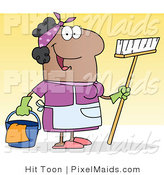 Clipart of a Friendly Hispanic Female Housekeeper by Hit Toon