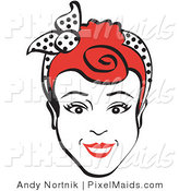 Clipart of a Friendly Red Haired Woman Smiling and Wearing a Polka-Dotted Scarf in Her Hair by Andy Nortnik