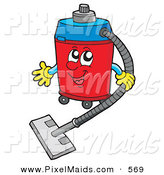 Clipart of a Friendly Vacuum Character on White by Visekart